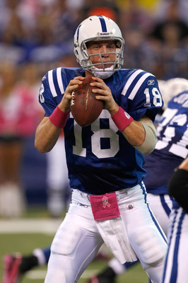INDIANAPOLIS, IN - OCTOBER 10: Peyton Manning #18 of the Indianapolis Colts passes the football against the Kansas City Chiefs at Lucas Oil Stadium on October 10, 2010 in Indianapolis, Indiana.  (Photo by Scott Boehm/Getty Images)