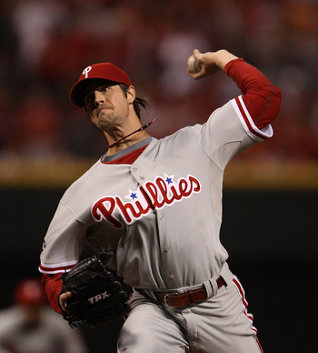 CINCINNATI - OCTOBER 10: Starting pitcher Cole Hamels #35 of the Philadelphia Phillies delivers the ball against the Cincinnati Reds during game 3 of the NLDS at Great American Ball Park on October 10, 2010 in Cincinnati, Ohio. (Photo by Jonathan Daniel/G