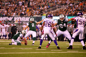 EAST RUTHERFORD, NJ - OCTOBER 11:  Kicker Nick Folk #2 of the New York Jets kicks a successful 25-yard field goal in the first quarter against the Minnesota Vikings at New Meadowlands Stadium on October 11, 2010 in East Rutherford, New Jersey.  (Photo by