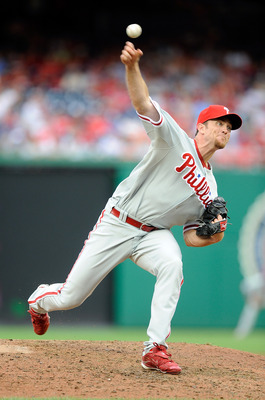WASHINGTON - AUGUST 01:  Brad Lidge #54 of the Philadelphia Phillies pitches against the Washington Nationals at Nationals Park on August 1, 2010 in Washington, DC.  (Photo by Greg Fiume/Getty Images)