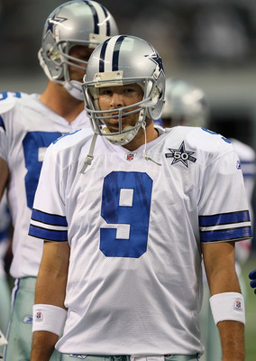 ARLINGTON, TX - OCTOBER 10:  Quarterback Tony Romo #10 of the Dallas Cowboys warms up for the game with the Tennessee Titans at Cowboys Stadium on October 10, 2010 in Arlington, Texas.  (Photo by Stephen Dunn/Getty Images)