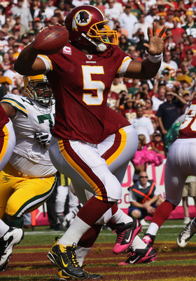 LANDOVER, MD - OCTOBER 10: Donovan McNabb #5 of the Washington Redskins drops back to pass against the Green Bay Packers at FedExField on October 10, 2010 in Landover, Maryland.  (Photo by Win McNamee/Getty Images)
