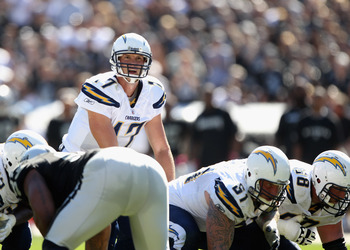OAKLAND, CA - OCTOBER 10:  Philip Rivers #17 of the San Diego Chargers in action against the Oakland Raiders at Oakland-Alameda County Coliseum on October 10, 2010 in Oakland, California.  (Photo by Ezra Shaw/Getty Images)
