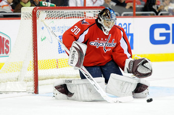 WASHINGTON - DECEMBER 23:  Michal Neuvirth #30 of the Washington Capitals makes a save against the Buffalo Sabres at the Verizon Center on December 23, 2009 in Washington, DC.  (Photo by Greg Fiume/Getty Images)