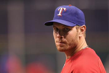 ST. PETERSBURG, FL - OCTOBER 12: Josh Hamilton of the Texas Rangers talks with reporters before Game 5 of the ALDS against the Tampa Bay Rays at Tropicana Field on October 12, 2010 in St. Petersburg, Florida.  (Photo by Mike Ehrmann/Getty Images)