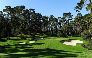 PEBBLE BEACH, CA - FEBRUARY 13:  A view on the 16th hole during round three of the AT&T Pebble Beach National Pro-Am at Spyglass Hill Golf Course on February 13, 2010 in Pebble Beach, California.  (Photo by Stuart Franklin/Getty Images)