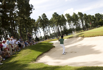 PINEHURST, NC - AUGUST 24:  Danny Lee of New Zealand hits from the bunker on the 17th hole during the final round of the U.S. Amateur Championship at Pinehurst Resort & Country Club August 24, 2008 in Pinehurst, North Carolina.  (Photo by Chris Keane/Gett