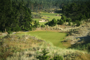 BANDON, OREGON, UNITED STATES - JUNE 16: The 214 yard par 3, 2nd hole with the 549 yard par 5, 3rd hole behind on the Bandon Trails Course, designed by Bill Coore, and Ben Crenshaw at the Bandon Dunes Golf Resort on June 16, 2005 in Bandon, Oregon, United