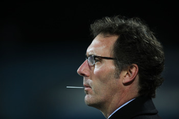 RAMAT GAN, ISRAEL - DECEMBER 8:  (ISRAEL OUT)  French Bordeaux's team coach Laurent Blanc waits for the start of his team's UEFA Champions League football match against Israel's Maccabi Haifa at the UEFA Champions League Group A matchday 6 game on Decembe