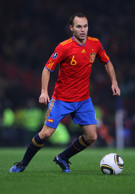 GLASGOW, SCOTLAND - OCTOBER 12:  Andres Iniesta of Spain during the UEFA EURO 2012 Group I qualifying match between Scotland and Spain at Hampden Park on October 12, 2010 in Glasgow, Scotland.  (Photo by Clive Rose/Getty Images)