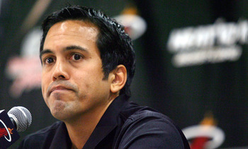 MIAMI - SEPTEMBER 27:  Head coach Erik Spoelstra of the Miami Heat answers questions during media day at the Bank United Center on September 27, 2010 in Miami, Florida.  (Photo by Marc Serota/Getty Images)
