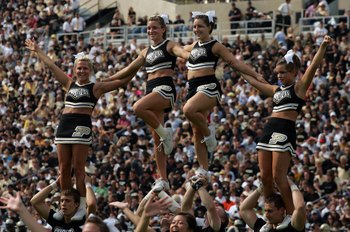 WEST LAFAYETTE, IN - SEPTEMBER 20:  Purdue cheerleaders perform during play against the Central Michigan Chippewas and the Purdue Boilermakers at Ross-Ade Stadium on September 20, 2008 in West Lafayette, Indiana.  (Photo by Ronald Martinez/Getty Images)