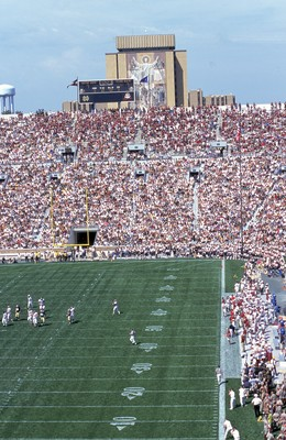 2 Sep 2000:  A  general view of Touchdown Jesus during the game between the Notre Dame Fighting Irish and theTexas A&M Aggies at Notre Dame Stadium in South Bend, Indiana. The Fighting Irish defeated the Aggies 24-10.Mandatory Credit: Tom Hauck  /Allsport