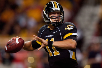 ST. LOUIS - SEPTEMBER 4: Blaine Gabbert #11 of the University of Missouri Tigers looks to pass against the University of Illinois Fighting Illini during the State Farm Arch Rivalry game on September 4, 2010 at the Edward Jones Dome in St. Louis, Missouri.