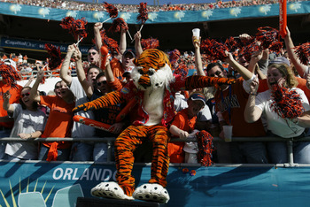 ORLANDO, FL - JANUARY 1:  The Auburn University Tiger celebrates with fans during the Capital One Bowl against the Pennsylvania State University Lions at Florida Citrus Bowl Stadium on January 1, 2003 in Orlando, Florida.  Auburn defeated Penn State 13-9.