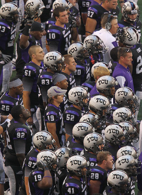 ARLINGTON, TX - SEPTEMBER 04:  The TCU Horned Frogs bench during play against the Oregon State Beavers at Cowboys Stadium on September 4, 2010 in Arlington, Texas.  (Photo by Ronald Martinez/Getty Images)