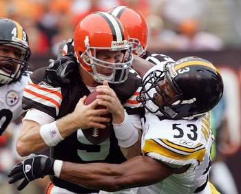 CLEVELAND - SEPTEMBER 9:  Charlie Frye #9 of the Cleveland Browns is sacked by Clark Haggans #53 of the Pittsburgh Steelers during their season opening game at Cleveland Browns Stadium September 9, 2007 in Cleveland, Ohio.  (Photo by Jim McIsaac/Getty Ima