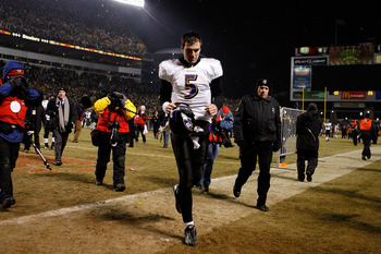PITTSBURGH - JANUARY 18:  Quarterback Joe Flacco #5 of the Baltimore Ravens walks off the field after a loss 23-14 to the Pittsburgh Steelers during the AFC championship game on January 18, 2009 at Heinz Field in Pittsburgh, Pennsylvania.  (Photo by Grego