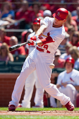 ST. LOUIS - SEPTEMBER 5: Colby Rasmus #28 of the St. Louis Cardinals strikes out against the Cincinnati Reds at Busch Stadium on September 5, 2010 in St. Louis, Missouri.  The Cardinals beat the Reds 4-2.  (Photo by Dilip Vishwanat/Getty Images)