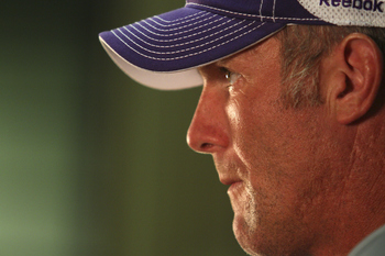 EDEN PRAIRIE, MN - AUGUST 18: Minnesota Vikings quarterback Brett Favre addresses the media at a press conference after the first morning practice since returning to Vikings Winter Park on August 18, 2010 in Eden Prairie, Minnesota. Favre injured his ankl