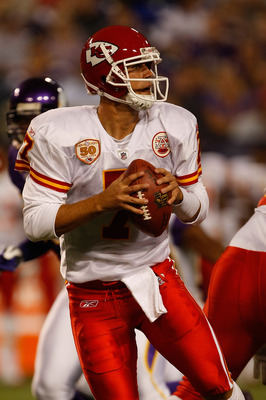 MINNEAPOLIS, MN - AUGUST 21: Quarterback Matt Cassell #7 of the Kansas City Chiefs drops back to pass against the Minnesota Vikings at Hubert H. Humphrey Metrodome on August 21, 2009 in Minneapolis, Minnesota. The Vikings defeated the Chiefs 17-13. (Photo