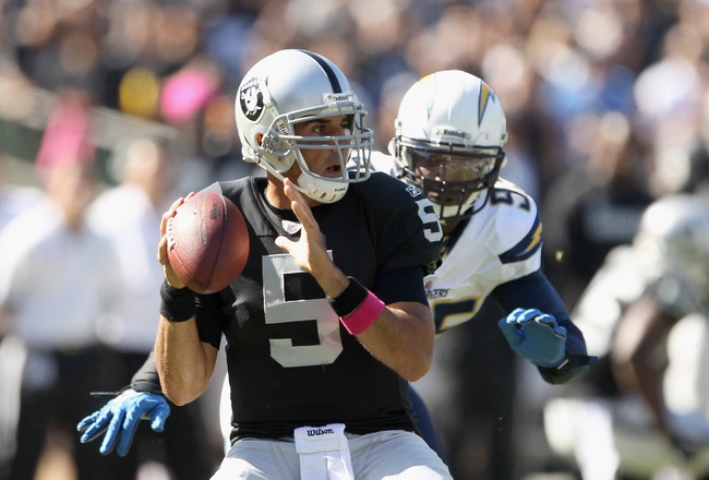 OAKLAND, CA - OCTOBER 10:  Bruce Gradkowski #5 of the Oakland Raiders passes the ball against the San Diego Chargers at Oakland-Alameda County Coliseum on October 10, 2010 in Oakland, California.  (Photo by Ezra Shaw/Getty Images)