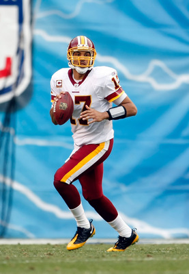 SAN DIEGO - JANUARY 03:  Quarterback Jason Campbell #17 of the Washington Redskins looks down field for an open receiver in the third quarter against the San Diego Chargers at Qualcomm Stadium on January 3, 2010 in San Diego, California. The Chargers defe