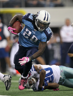 ARLINGTON, TX - OCTOBER 10:  Running back Chris Johnson #28 of the Tennessee Titans carries the ball against the Dallas Cowboys at Cowboys Stadium on October 10, 2010 in Arlington, Texas.   The Titans won 34-27.  (Photo by Stephen Dunn/Getty Images)