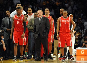LOS ANGELES, CA - MAY 06:  Head coach Rick Adelman and the Houston Rockets bench stand against the Los Angeles Lakers in Game Two of the Western Conference Semifinals during the 2009 NBA Playoffs at Staples Center on May 6, 2009 in Los Angeles, California