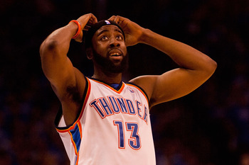 OKLAHOMA CITY - APRIL 22: James Harden #13 of the Oklahoma City Thunder reacts to a foul called on him against the Los Angeles Lakers during Game Three of the Western Conference Quarterfinals of the 2010 NBA Playoffs on April 22, 2010 at the Ford Center i