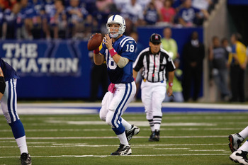 INDIANAPOLIS, IN - OCTOBER 10: Peyton Manning #18 of the Indianapolis Colts drops back to pass against the Kansas City Chiefs at Lucas Oil Stadium on October 10, 2010 in Indianapolis, Indiana. The Colts defeated the Chiefs 19-9. (Photo by Scott Boehm/Gett