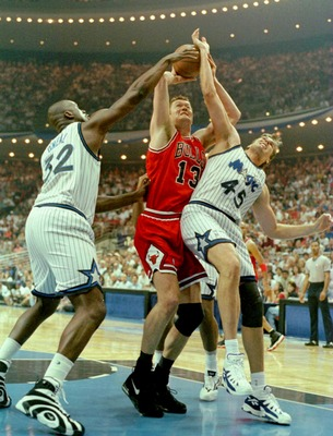 Magic #45; getting owned by Luc Longley.
