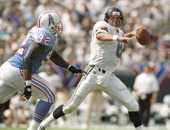 3 Sep 1995:  Quarterback Mark Brunell of the Jacksonville Jaguars passes the ball during a game against the Houston Oilers at Jacksonville Municipal Stadium in Jacksonville, Florida.  The Oilers won the game, 10-3. Mandatory Credit: Doug Pensinger  /Allsp