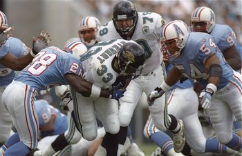 3 Sep 1995:  Running back James Stewart of the Jacksonville Jaguars gets tackled during a game against the Houston Oilers at Jacksonville Stadium in Jacksonville, Florida.  The Oilers won the game, 10-3. Mandatory Credit: Doug Pensinger  /Allsport