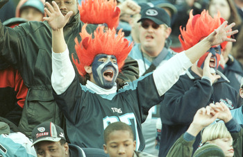 26 Dec 1999:  Fans let loose at the game between the Jacksonville Jaguars and the Tennessee Titans at Adelphia Coliseum in Nashville, Tennessee. The Titans won 41-14. Mandatory Credit: Andy Lyons/ALLSPORT