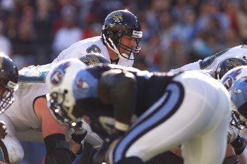 4 Nov 2001:  Quarterback Mark Brunell #8  of the Jacksonville Jaguars takes the snap during the game against the Tennessee Titans at Adelphia Coliseum in Nashville, Tennessee. The Titans won 28-24. DIGITAL IMAGE. Mandatory Credit: Andy Lyons/ALLSPORT