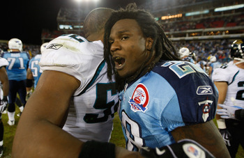 NASHVILLE, TN - NOVEMBER 01:  Chris Johnson #28 of the Tennessee Titans reacts to his teams 30-13 victory over the Jacksonville Jaguars after their game at LP Field on November 1, 2009 in Nashville, Tennessee.  (Photo by Streeter Lecka/Getty Images)