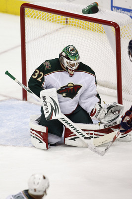 COLUMBUS,OH - SEPTEMBER 28:  Niklas Backstrom #32 of the Minnesota Wild makes the save during the third period against the Columbus Blue Jackets on September 28, 2010 at Nationwide Arena in Columbus, Ohio.  (Photo by John Grieshop/Getty Images)