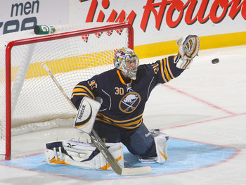 BUFFALO, NY - OCTOBER 11: Ryan Miller #30 of the Buffalo Sabres  makes a glove save  against the Chicago Blackhawks  at HSBC Arena on October 11, 2010 in Buffalo, New York.  (Photo by Rick Stewart/Getty Images)