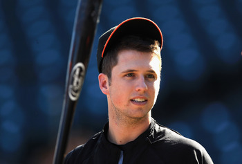 SAN FRANCISCO - OCTOBER 13:  Buster Posey #28 of the San Francisco Giants takes batting practice during a workout session in preparation for the National League Championship Series at AT&T Park on October 13, 2010 in San Francisco, California.  (Photo by