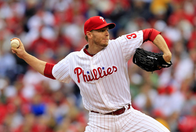 PHILADELPHIA - OCTOBER 06:  Roy Halladay #34 of the Philadelphia Phillies pitches during his no-hitter in Game 1 of the NLDS against the Cincinnati Reds at Citizens Bank Park on October 6, 2010 in Philadelphia, Pennsylvania.The Phillies defeated the Reds