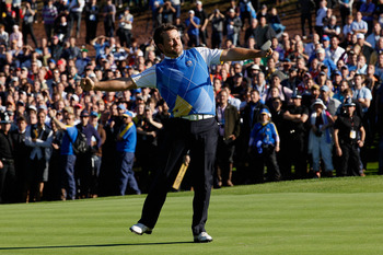 NEWPORT, WALES - OCTOBER 04:  Graeme McDowell of Europe celebrates his birdie putt on the 16th green in the singles matches during the 2010 Ryder Cup at the Celtic Manor Resort on October 4, 2010 in Newport, Wales.  (Photo by Sam Greenwood/Getty Images)