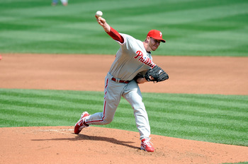 WASHINGTON - APRIL 05:  Roy Halladay #34 of the Philadelphia Phillies pitches against the Washington Nationals on Opening Day at Nationals Park on April 5, 2010 in Washington, DC.  (Photo by Greg Fiume/Getty Images)
