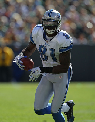 GREEN BAY, WI - OCTOBER 03: Calvin Johnson #81 of the Detroit Lions runs toward the end zone against the Green Bay Packers at Lambeau Field on October 3, 2010 in Green Bay, Wisconsin. The Packers defeated the Lions 28-26. (Photo by Jonathan Daniel/Getty I