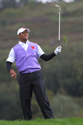 NEWPORT, WALES - OCTOBER 02:  Tiger Woods of the USA hits an approach shot on the 11th hole during the rescheduled Afternoon Foursome Matches during the 2010 Ryder Cup at the Celtic Manor Resort on October 2, 2010 in Newport, Wales.  (Photo by Jamie Squir