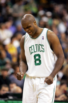 BOSTON - MAY 7: Antoine Walker #8 of the Boston Celtics reacts after missing a shot against the Indiana Pacers in Game seven of the Eastern Conference Quarterfinals during the 2005 NBA Playoffs at Fleet Center on May 7, 2005 in Boston, Massachusetts.  The