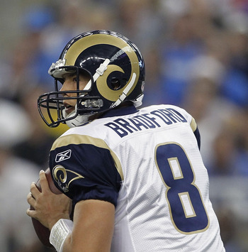 DETROIT - OCTOBER 10:  Sam Bradford #8 of the St. Louis Rams drops back to pass during the fourth quarter during the game against the Detroit Lions at Ford Field on October 10, 2010 in Detroit, Michigan. The Lions defeated the Rams 44-6.  (Photo by Leon H
