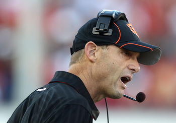 TUCSON, AZ - OCTOBER 09:  Head coach Mike Riley of the Oregon State Beavers talks with an official during the college football game against the Arizona Wildcats at Arizona Stadium on October 9, 2010 in Tucson, Arizona.  (Photo by Christian Petersen/Getty