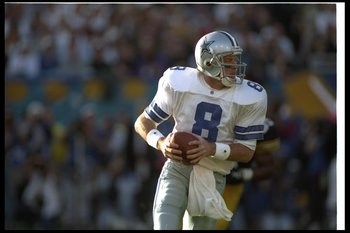 28 Jan 1996:  Quarterback Troy Aikman of the Dallas Cowboys looks to pass the ball during Super Bowl XXX against the Pittsburgh Steelers at Sun Devil Stadium in Tempe, Arizona.  The Cowboys won the game, 27-17. Mandatory Credit: Al Bello  /Allsport