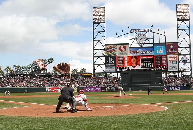 SAN FRANCISCO - APRIL 28:  A general view of the San Francisco Giants against the Philadelphia Phillies MLB game at AT&T Park on April 28, 2010 in San Francisco, California. (Photo by Jed Jacobsohn/Getty Images)